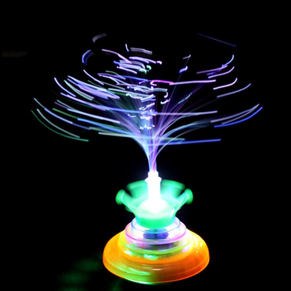 Colorful Creative Crown fiber optic flashing music gyro peg-top Electric spinning top gyroscope Kids UFO toy(China)