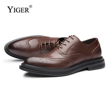 YIGER New Mens Business Shoes dress shoes carved casual Lace-up Mans Wedding Leather Black/Brown 0056