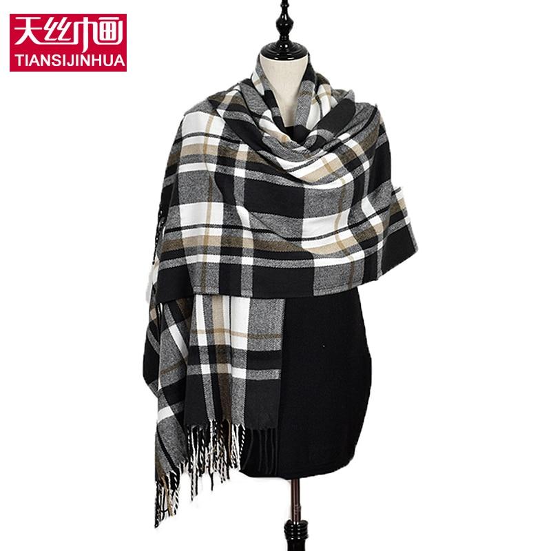 190 60 cm Hiver cachemire tartan plaid infinity écharpe tricoté marque  couverture châle designer foulard femme pashmina volé Femmes c6bd286ee6d