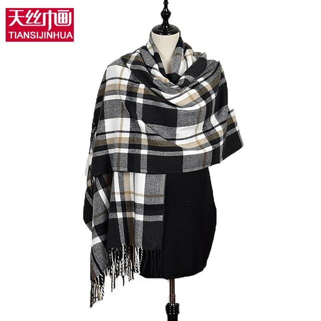 cda8a9d05 190*60cm Winter cashmere tartan plaid infinity scarf knitted brand blanket  shawl designer foulard femme pashmina stole Women