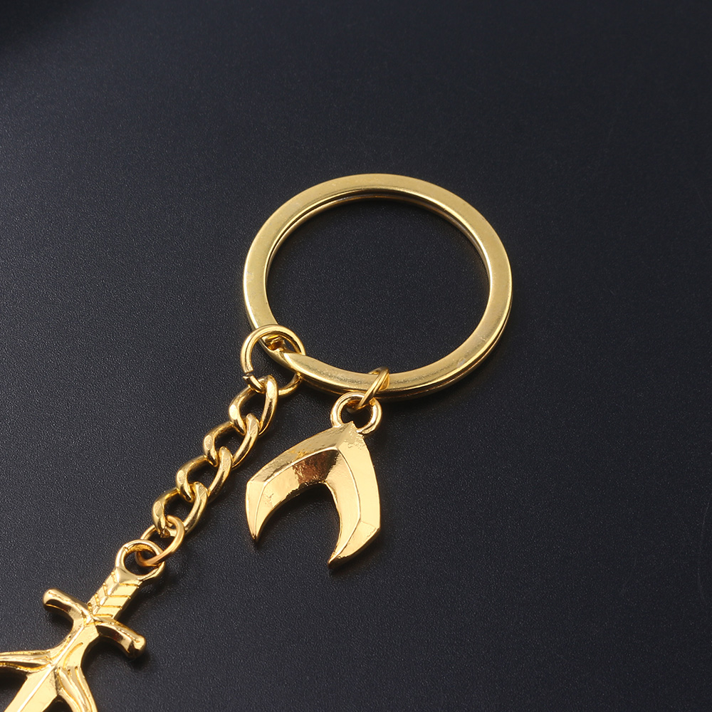 SG Movie Aquaman Trident of Neptune Golden Keychains Arthur Curry Weapon Model Key Chain Chaveiro Men Car Keyring Choker Jewelry in Key Chains from Jewelry Accessories