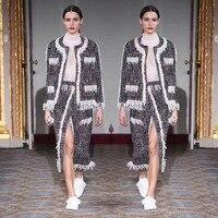 Трудоемкий бисером комплект из 2 предметов удивительные жемчуг кисточкой куртка и комплект с юбкой Большие размеры conjunto feminino 5xl 6xl зимний ко