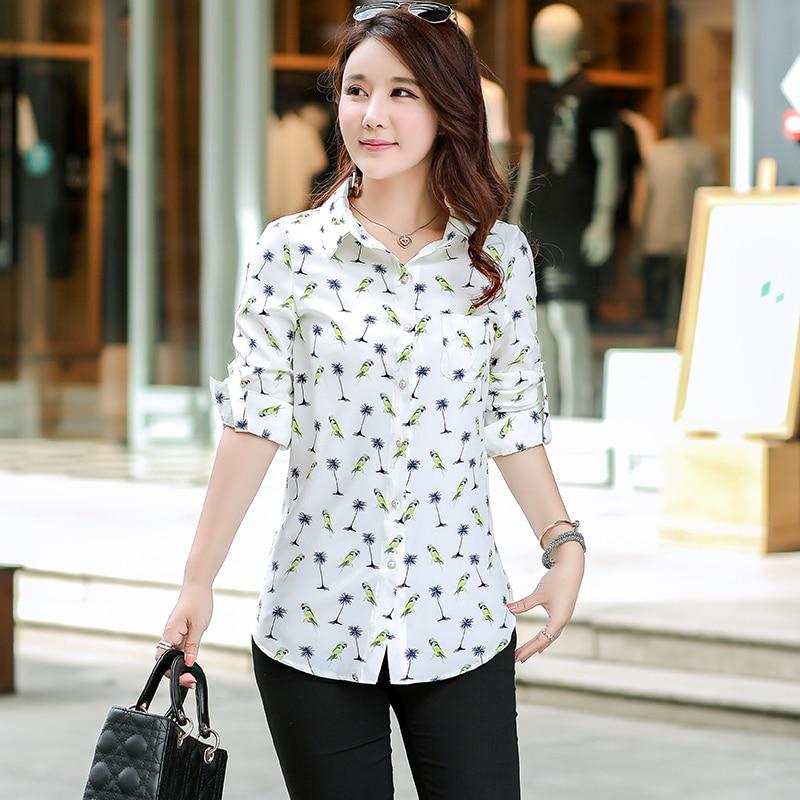Women Long Style Shirts 2018 Spring Autumn New Plus Size Blouses Print Long  Sleeve Chiffon Shirt 1b98ef01bdc5