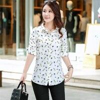 f9822ed032bc78 Kobiety Długi Style Koszule 2018 Wiosna Jesień Nowy Plus Size bluzki Druku Szyfonowa  Koszula Z Długim