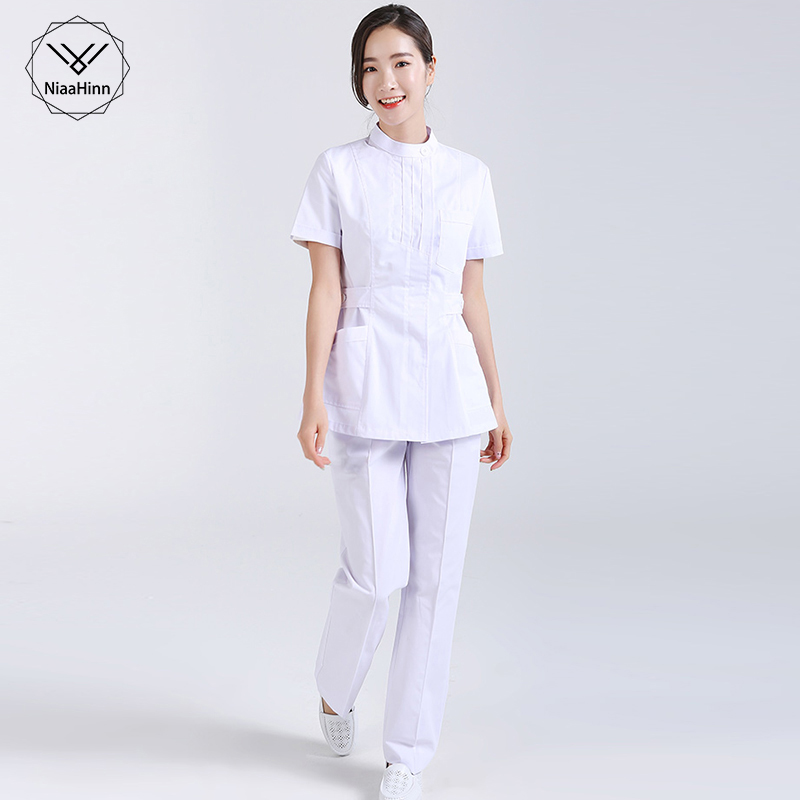 Nurse Hospital Medical Surgical Workwear Summer Short Sleeve Tops Pants Dental Clinic Pharmacy Beauty Salon Casual Work Uniforms
