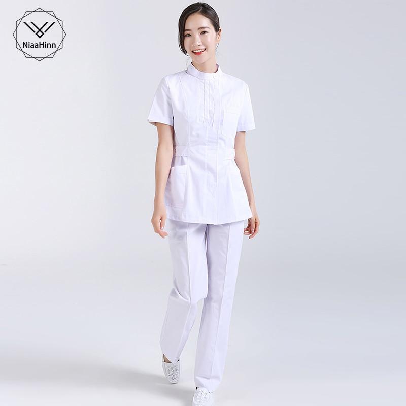 Nurse Hospital Medical Surgical Workwear Summer Short Sleeve Tops Pants Dental Clinic Pharmacy Beauty Salon Casual Work Uniforms
