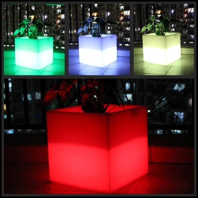 PE Plastic LED Flower Pots Floor Decoration Ince Buckets Rumba Square Glow  Planter Vase  Free Shipping 10pcs/Lot