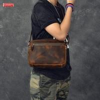 Новинка Ретро crazy horse кожаная мужская сумка на плечо замшевая кожаная сумка мужская маленькая сумка через плечо коричневая кожаная сумка