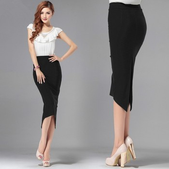6XL 7XL Plus Size Women Summer Style Black Office Midi Skirt Formal Bodycon Pencil Skirts Saias Femininas girl