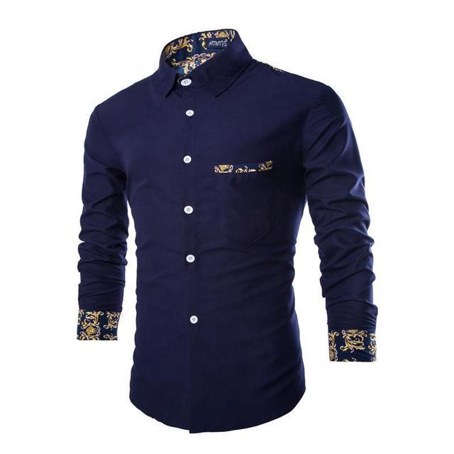 2016 Nueva Llegada Azul de manga larga Da Vuelta-abajo Camisas de Esmoquin Popelín de Impresión Regular de Botón Cubierto de Vestir Casual para Hombres camisas