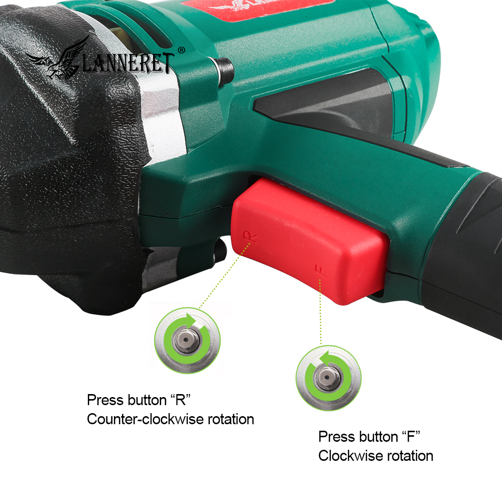 Image 5 - LANNERET 950W Electric Impact Wrench 450 550Nm Max Torque 1/2 inch Car Socket Household Professional Wrench Changing Tire Tools-in Electric Wrenches from Tools on