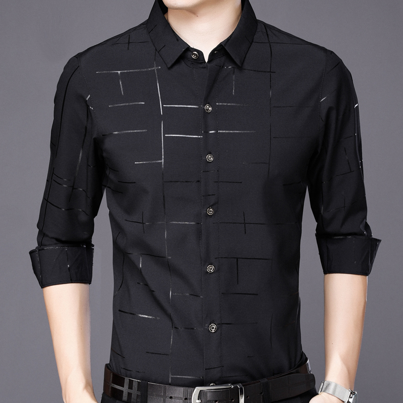 2019 popular brand fashion casual slim fit long sleeve men shirt social clothes plaid shirts mens dress jersey high quality 2028 2