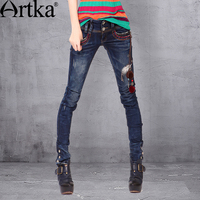 Artka Women S India Autumn New Embroidery Handmade Decoration Slim Fit Washed Pencil Pants KN14534Q