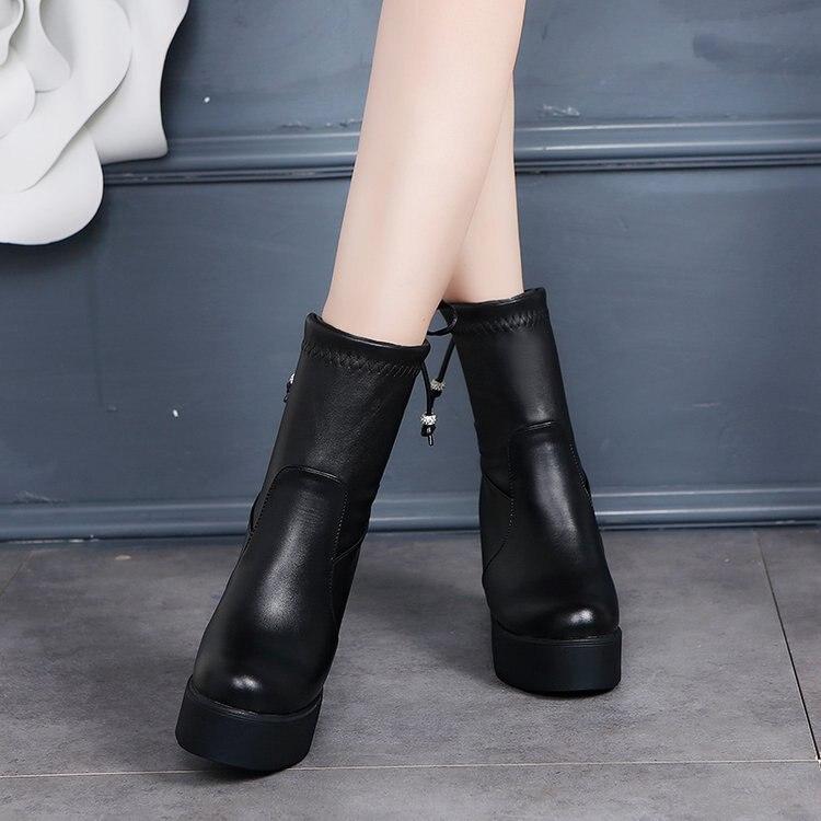 Redonda Envío Mujer Gratuito Invierno Botas Tubo 2019 De Grueso Cabeza Negro Martin Nuevo Zapatos Encaje Medio Owd5xqIa