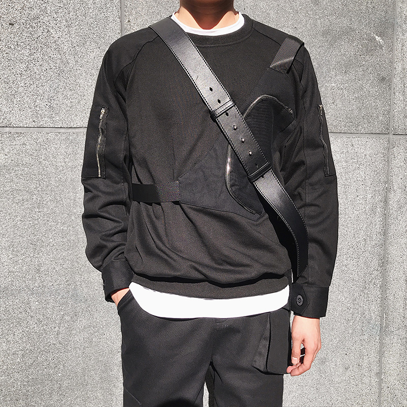 Langarm männer pullover 2018 frühling neue Koreanische version der hübscher falschen brust tasche abdeckung kopf runde kragen T shirt