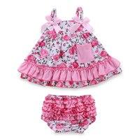 Retail Summer Baby Girl Clothing Set Sleeceless Cotton Baby Dress Newborn Belt Baby Girl Clothes Infant