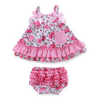 Retail Summer Baby Girl Clothing Set Sleeceless Cotton Baby Dress Newborn Belt Baby Girl Clothes Infant