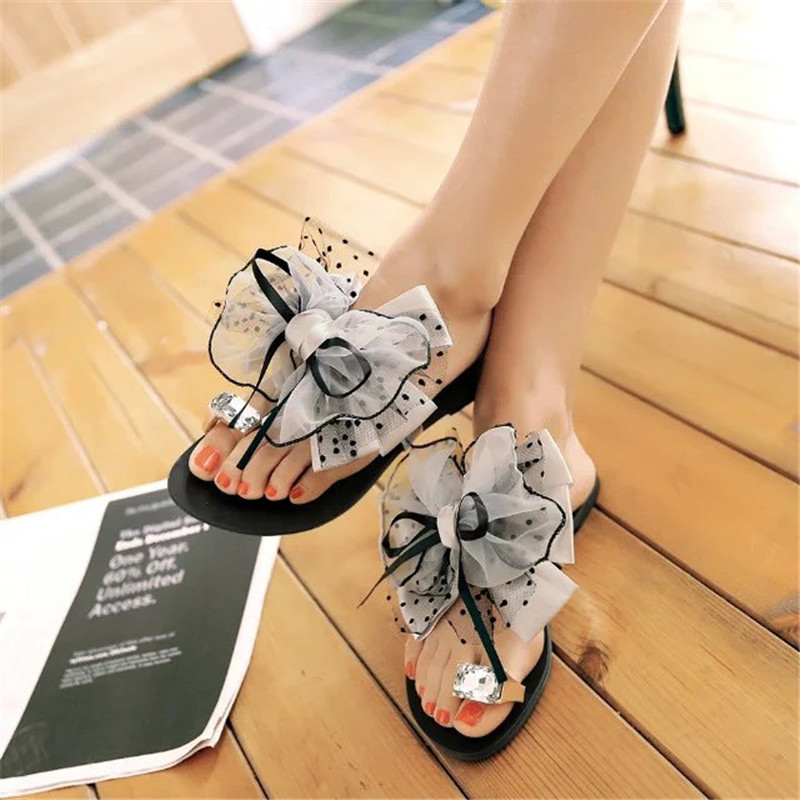 Women Sandals Fashion Dot Print Summer Beach Slippers 2019 New Sweet Bowknot High Heels Casual Shoes Women Size