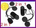 2 * Da Motocicleta/Capacete de Esqui capacete interfone headset/até 1000 m moto intercomunicador fone de ouvido à prova d' água + bluetooth + MP3 jogo