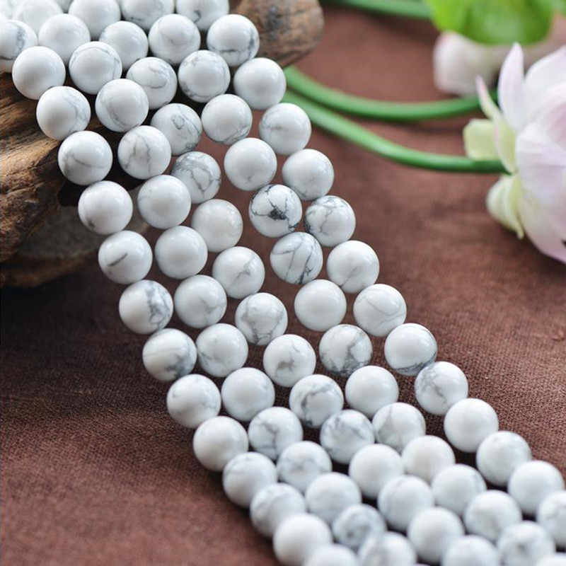 Natural Stone White Howlite Turquoises Beads 4 6 8 10 12 14MM Bracelet Fit Diy Charm Beads For Jewelry Making