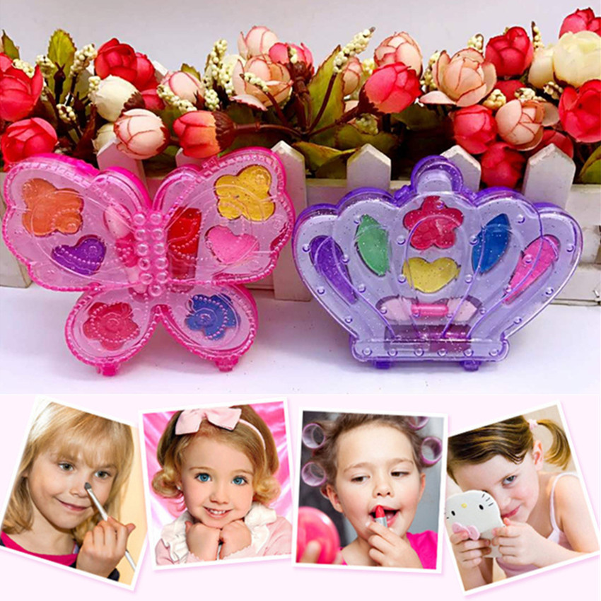 1PC Pretend Play Cosmetics Kit Toys Girls Makeup Tools Set Simulation Lipstick And Eye Shadow For Kids