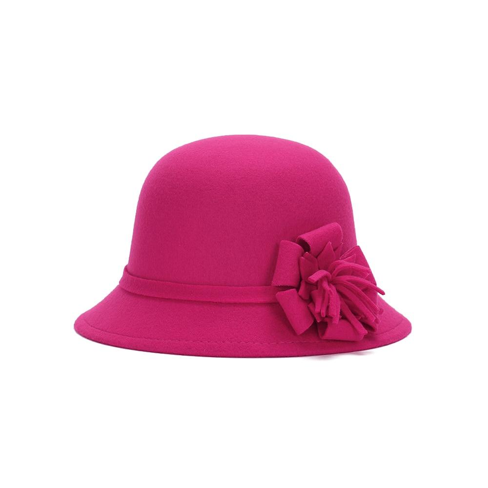 Vogue Для женщин флоппи цветы шляпа Имитация шерсти, с цветочным рисунком, на возраст от котелок шапка, сезон осень-зима; женские свадебные шляпы для принцессы держать femme Кепка с покрывалом - Цвет: rose red