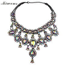New Fashion high quality za brand pendant necklaces crystal elegant bib collar statement vintage necklaces 4502