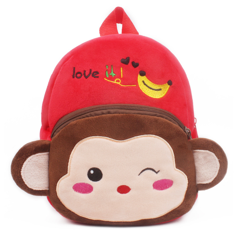 1-25-years-Lovely-children-plush-backpack-cartoon-Monkey-Elephant-Animal-schoolbag-wholesale-4