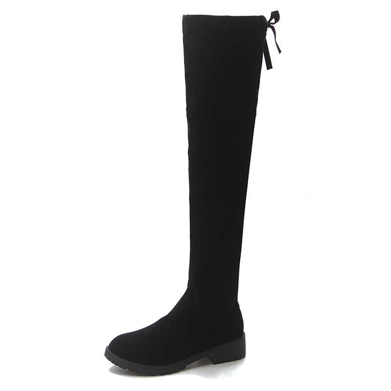 2018 YENI Yüksek Çizmeler Kadın Kış Çizmeler Kadın Diz üzerinde Çizmeler Düz Streç Seksi moda ayakkabılar Siyah EUR34--43 binici çizmeleri