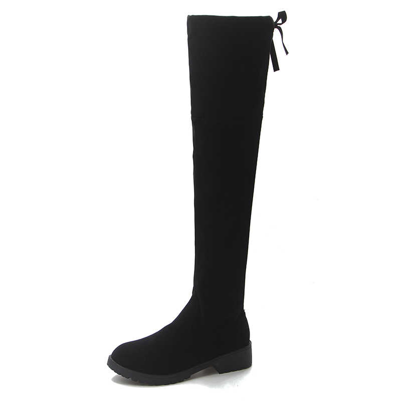 2018 รองเท้าบูทสูงใหม่หญิงฤดูหนาวรองเท้าผู้หญิงกว่าเข่าบู๊ทส์ยืดแบนรองเท้าแฟชั่นเซ็กซี่สีดำ EUR34--43 ขี่รองเท้า