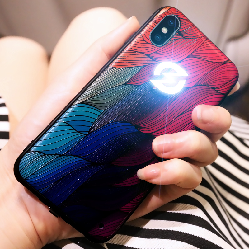 Have Led LOGO flash light phone case for Apple iphone X 6 6s 7 8 plus Original silicone case for iPhone X 7 6 luxury coque Yagoo