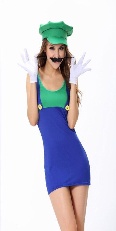 Women Adult Super Plumber Bros 80s Video Game Fancy Dress Workwoman Costume Hen