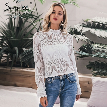Simplee Elegant white lace blouse shirt Sexy hollow out embroidery feminine blouse Women long lantern sleeve summer tops female 2