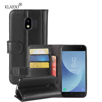 KLAIDO Genuine Cow Leather Case For Samsung Galaxy J2 Pro 2018 Case Protective Wallet Book Cover