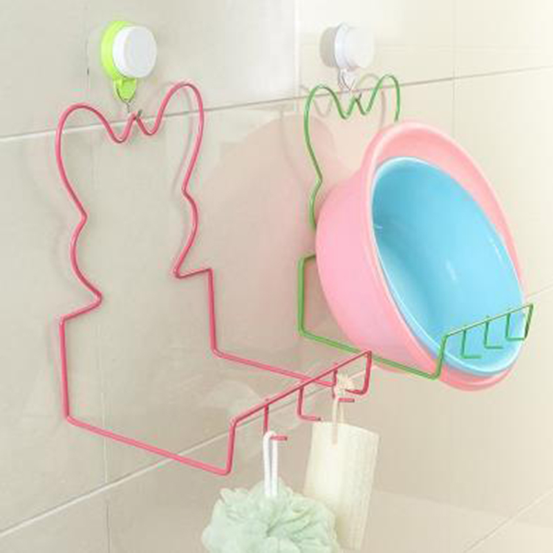 creative shape wall hanging kitchen bathroom organizers washbasin storage holders with hooks kitchen drain rack