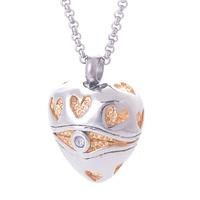 Hoge kwaliteit 316l rvs equisite geel hart hangers kettingen crematie sieraden gedenktekens urnen voor as IRLY047