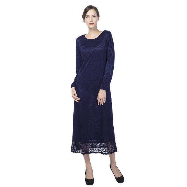 Lace abaya dress women long sleeve plus size party dresses club factory  evening dress alibaba express B8013