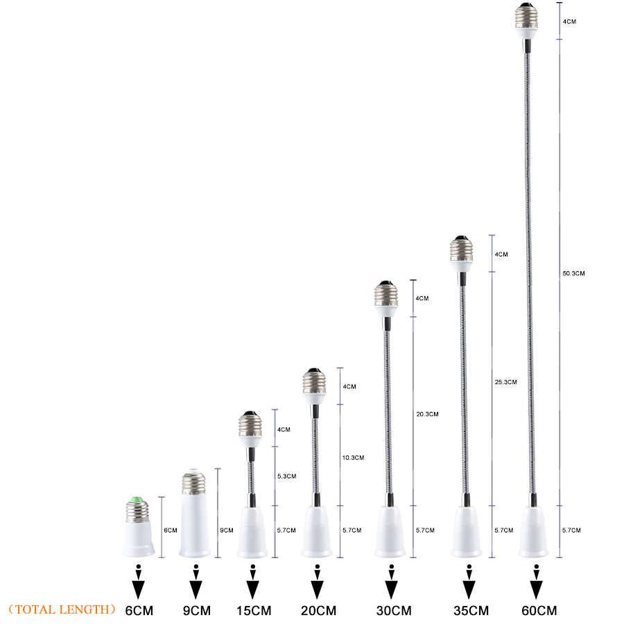 Foxanon гибкие E27 к E27 светодиодный цоколь лампы удлинитель патрона 6 см 9 см 15 см 20 см 30 см 35 см 60 см расширение Light Держатель конвертер