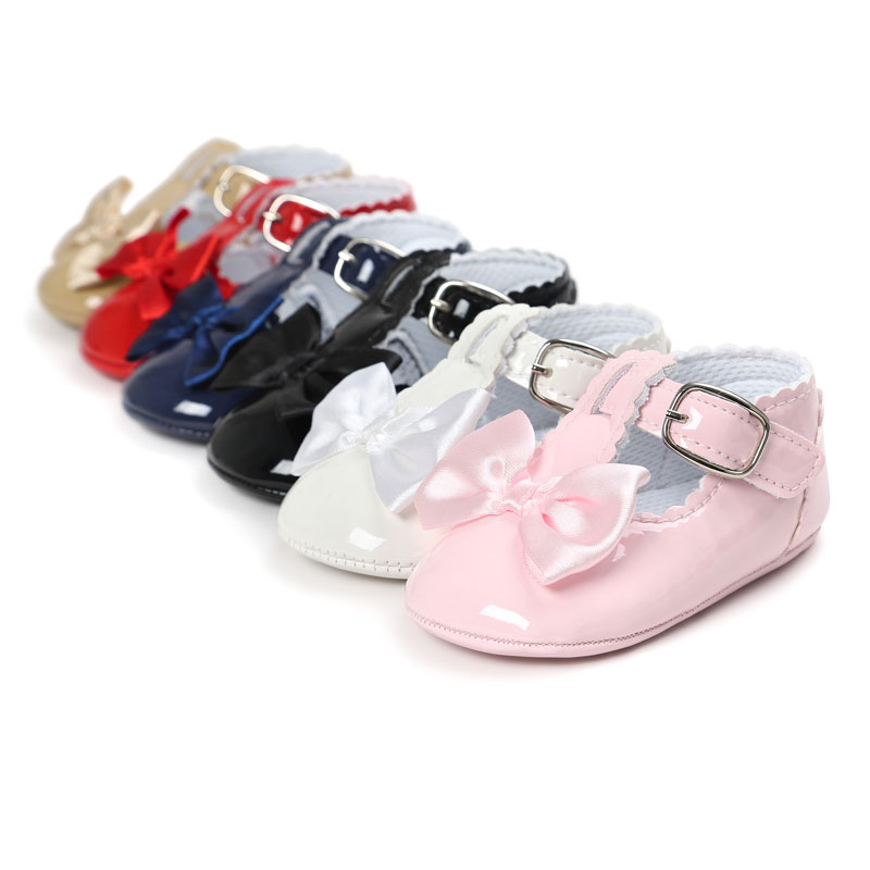 Newborn Baby Girls Shoes PU Leather Buckle First Walkers Red Black Pink White Blue First Walkers Non-slip Shoes
