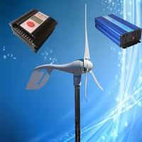 400W Wind Generator 3/5PCS Blades, 12V/24V Optional + Max 900W Wind/Solar Hybrid Controller + 1500W Pure Sine Wave Wind Inverter