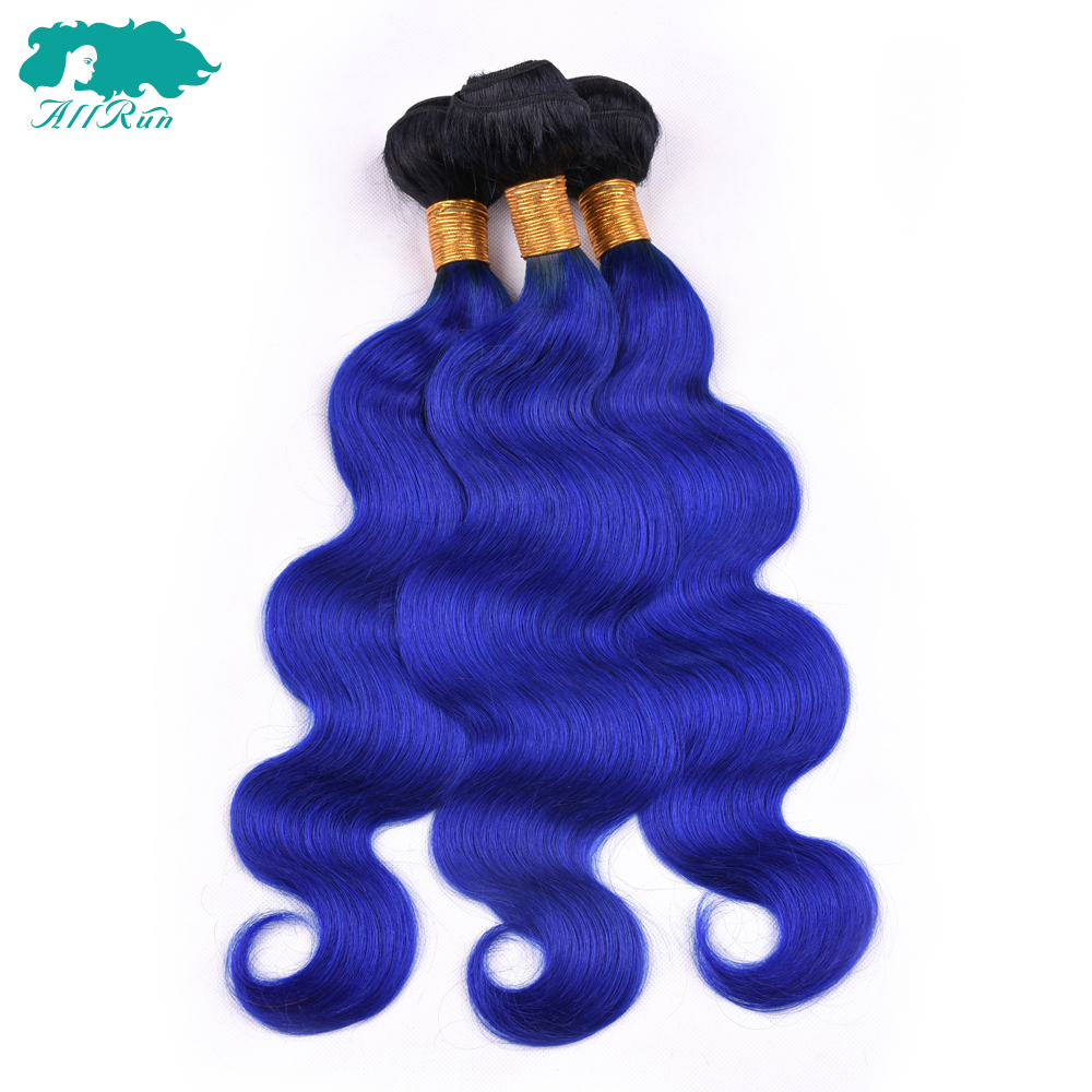 Allrun Human Hair T1B/Blue Two Tone Ombre color Hair Weave bundles Body Wave Malaysia 3 bundles Non-Remy Hair Extension