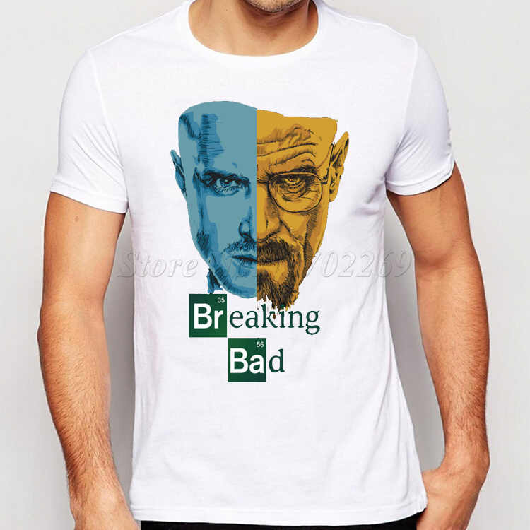 Promozione Breaking Bad Uomini T-Shirt Retrò T-Shirt TV Mr White Heisenberg Jessie Pinkman Divertente Stampa Tees Top A Manica Corta