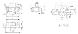 Image 2 - 100 قطعة 3*6 مللي متر مصلحة الارصاد الجوية اللباقة ضوء اللمس التبديل 2 دبوس الجانب زر مايكرو زر 3*6*3.5 مللي متر
