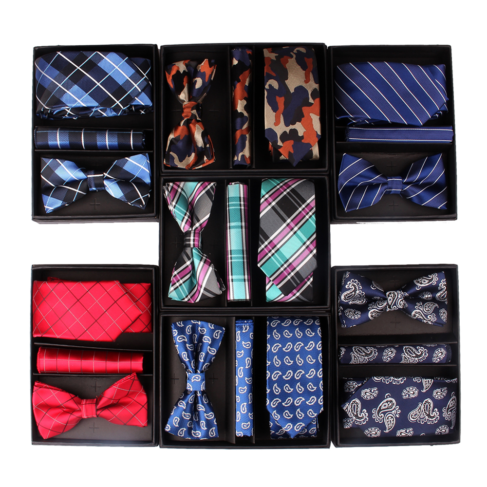 New Ties Sets For Christmas Gifts Necktie Bow Tie Pocket Square Set For Men Business Neck Tie Groom Neckties With Box