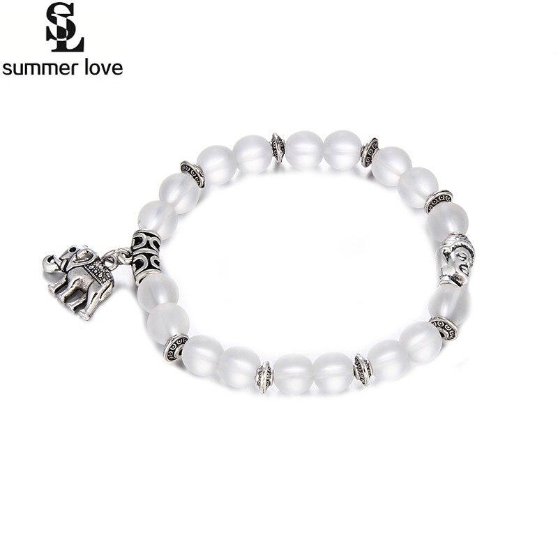 d04b7eb2e68d9d Ethnique Elephant Charm Bracelet Pour Femmes Mat Cristal Bouddha Perle  Bracelet Bracelets Pulseras Bijoux Femme Amour Cadeau Bijoux