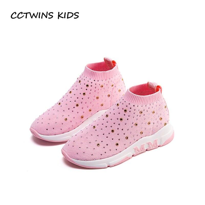 CCTWINS KIDS 2018 Spring Children Fashion Mesh Casual Trainer Boy Brand High Top Sneaker Baby Girl Rhinestone Shoe F2193