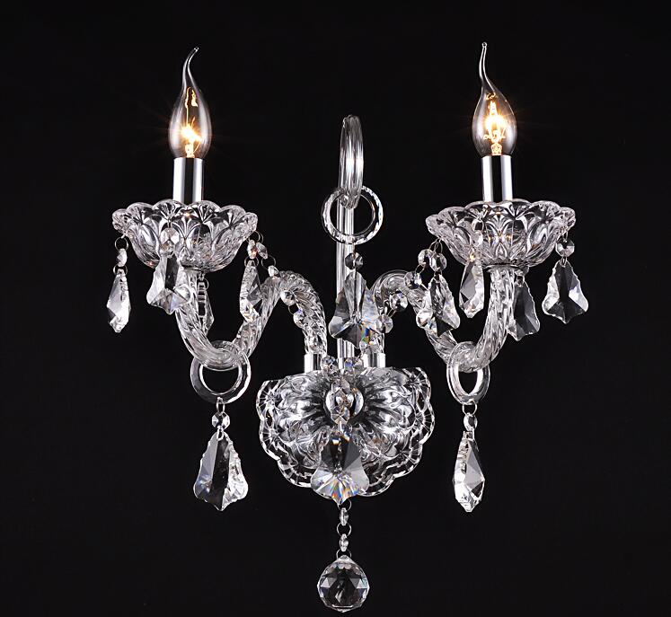 Luxury top K9 crystals transparent clear cognic Crystal Wall Lamp Candle Led E14 Bulbs double three