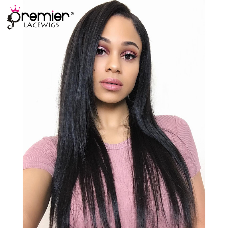 PREMIER LACE WIGS 360 Lace Frontal Wigs Silky Straight Indian Remy Human Hair,150% Thick Density,Pre Plucked Hairline [360LW01]