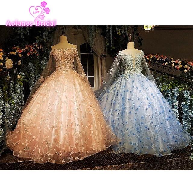 2017 vintage azul rosa vestido de bola vestido de novia de encaje