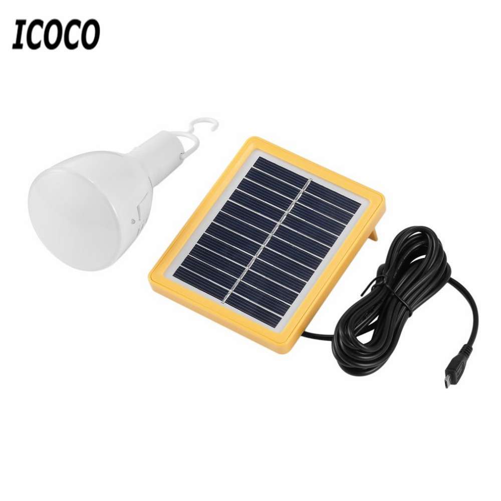 ICOCO Retractable Portable Solar Power Bulb Lamp 39LEDs Flashlight Solar Panel Charged Lamp Outdoor Camping Night Light